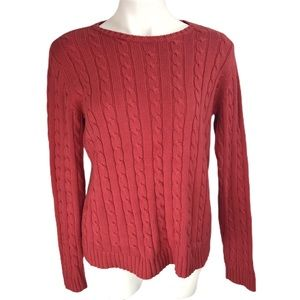 EDDIE BAUER Red Cable Sweater M